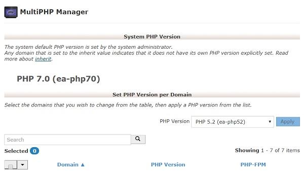 Schimbare versiune PHP din cPanel